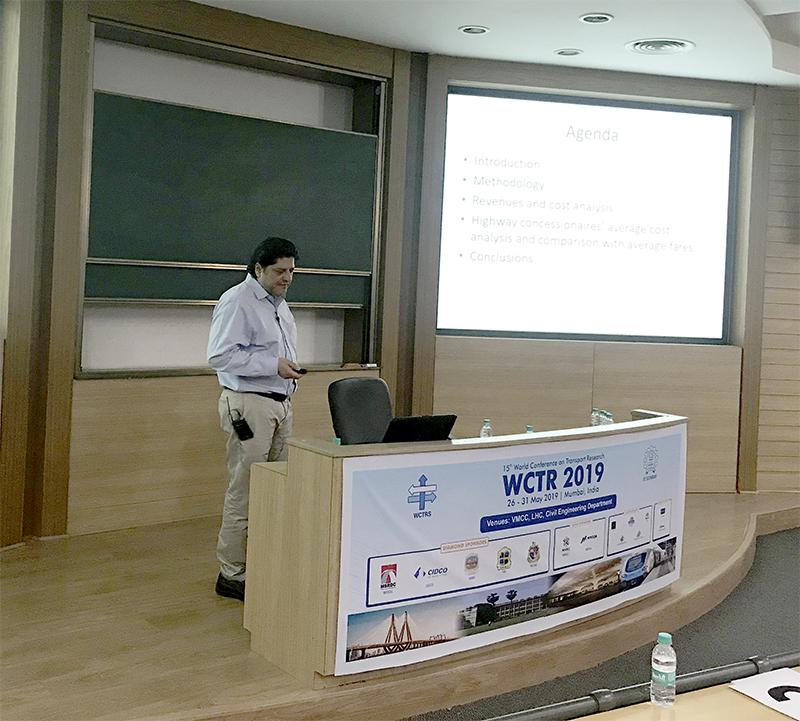 Dr. Juan Pedro Sepúlveda expuso en XV Conferencia Mundial de Investigación en Transporte realizada en India