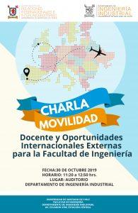 [:es]Charla: Movilidad Docente y Oportunidades  Internacionales Externas  para la Facultad de Ingeniería[:] @ Departamento Ingeniería Industrial Universidad de Santiago de Chile - Sala de Postgrados A