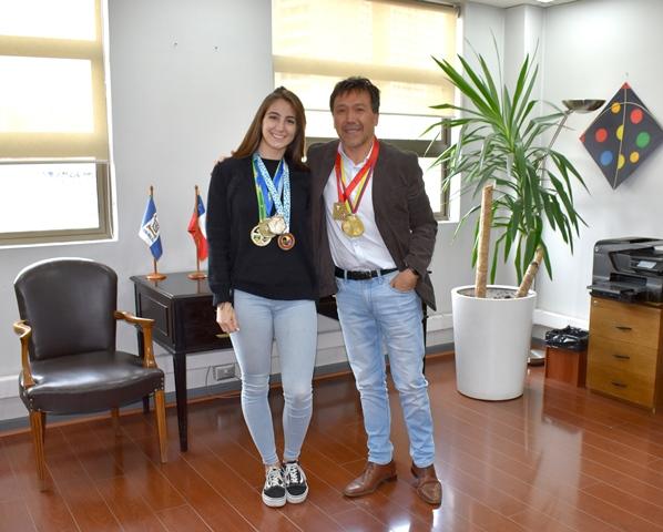 Valentina Toro alumna de Ingeniería Indutrial Campeona Mundial de Karate sub 21.